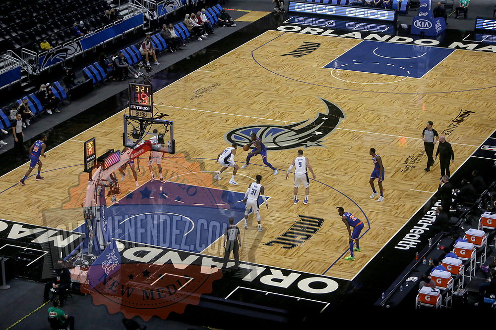 ORLANDO, FL - FEBRUARY 17:   New York Knicks and Orlando Magic play a basketball game at Amway Center on February 17, 2021 in Orlando, Florida. NOTE TO USER: User expressly acknowledges and agrees that, by downloading and or using this photograph, User is consenting to the terms and conditions of the Getty Images License Agreement. (Photo by Alex Menendez/Getty Images)*** Local Caption ***