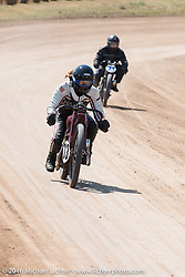 Brittney and Matt Olsen racing head to head at the Pappy Hoel Classic Half Track Vintage race day during the annual Sturgis Black Hills Motorcycle Rally.  SD, USA.  August 8, 2016.  Photography ©2016 Michael Lichter.