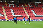 AFC Wimbledon striker Andy Barcham (17) pointing to AFC Wimbledon midfielder Anthony Hartigan (8) during the EFL Trophy match between Charlton Athletic and AFC Wimbledon at The Valley, London, England on 4 September 2018.