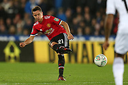 Ander Herrera of Manchester United in action. EFL Carabao Cup 4th round match, Swansea city v Manchester Utd at the Liberty Stadium in Swansea, South Wales on Tuesday 24th October 2017.<br /> pic by  Andrew Orchard, Andrew Orchard sports photography.