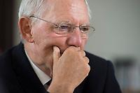 16 JUL 2014, BERLIN/GERMANY:<br /> Wolfgang Schaeuble, CDU, Bundesfinanzminister, waehrend einem Interview, in seinem Buero, Bundesministerium der Finanzen<br /> IMAGE: 20140716-02-002<br /> KEYWORDS: Wolfgang Schäuble, Büro