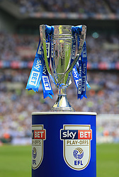 A detail view of the trophy on a plinth