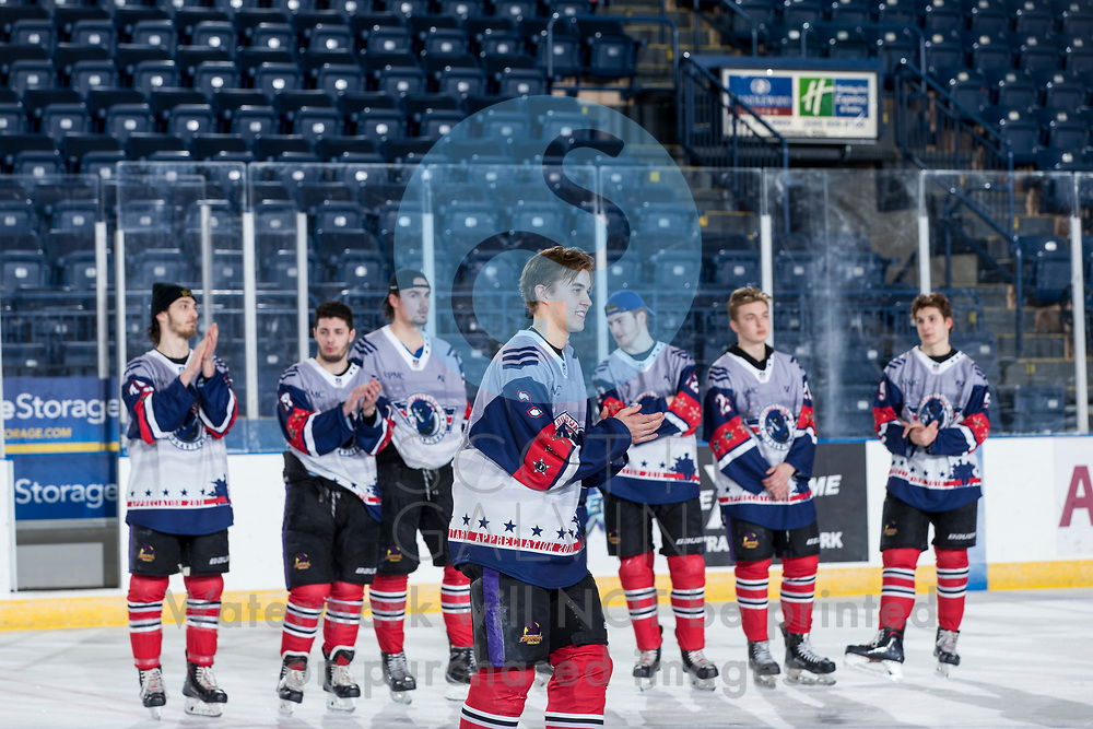 The Youngstown Phantoms lose 4-3 to Team USA NTDP at the Covelli Centre on February 16, 2019. Featuring special jerseys for Military Appreciation Night.<br /> <br /> Jeppe Urup, defenseman, 3; Joseph Abate, forward, 45; Craig Needham, forward, 13; Brett Murray, forward, 21; Liam Robertson, forward, 92