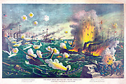 Spanish-American War 1898: Battle of Manila Bay, Philippines, 1 May 1898, the first major  engagement of the conflict. Spanish vessels destroyed by American fire.  Overwhelming US victory. Print c1898. Naval Warfare