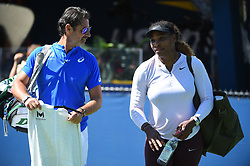Serena Williams (USA) with her coach Patrick Mouratoglou (FRA) during her practice at the 2019 US Open at Billie Jean National Tennis Center in New York City, NY, USA, on August 24, 2019. Photo by Corinne Dubreuil/ABACAPRESS.COM