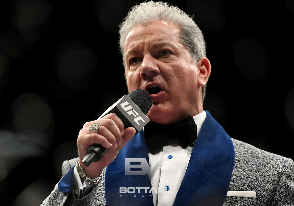 NEW YORK, NY - NOVEMBER 12:  Bruce Buffer introduces the women's bantamweight bout between Miesha Tate of the United States and Raquel Pennington of the United States during the UFC 205 event at Madison Square Garden on November 12, 2016 in New York City.  (Photo by Jeff Bottari/Zuffa LLC/Zuffa LLC via Getty Images)