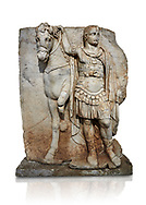 Roman Sebasteion relief sculpture of  an Imperial prince as Diokouros, Aphrodisias Museum, Aphrodisias, Turkey.   Against a white background.<br /> <br /> An imperial youth wearing a military cloak and cuirass of a commander holds the reins of hios horse. This panel is next to a Claudius panel so is probably of Britanicus or Nero the emperors son and intended successor .<br /> <br /> If you prefer to buy from our ALAMY STOCK LIBRARY page at https://www.alamy.com/portfolio/paul-williams-funkystock/greco-roman-sculptures.html . Type -    Aphrodisias     - into LOWER SEARCH WITHIN GALLERY box - Refine search by adding a subject, place, background colour, museum etc.<br /> <br /> Visit our ROMAN WORLD PHOTO COLLECTIONS for more photos to download or buy as wall art prints https://funkystock.photoshelter.com/gallery-collection/The-Romans-Art-Artefacts-Antiquities-Historic-Sites-Pictures-Images/C0000r2uLJJo9_s0