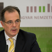 Andras Simor president of the Hungarian National Bank talks during a press conference in Budapest, Hungary on February 26, 2013. ATTILA VOLGYI