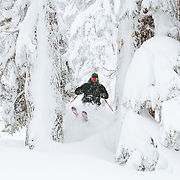 Tyler Hatcher skis in the backcountry near Mount Baker Ski Area during a monstrous winter storm.