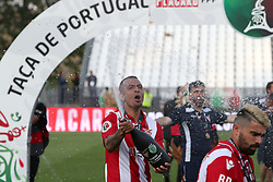 May 20, 2018 - Lisbon, Portugal - Aves' defender Diego Galo celebrates after winning the Portugal Cup Final football match CD Aves vs Sporting CP at the Jamor stadium in Oeiras, outskirts of Lisbon, on May 20, 2015. (Aves won 2-1) (Credit Image: © Pedro Fiuza/NurPhoto via ZUMA Press)