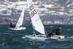 Day 1 of the RYA Youth National Championships 2013 held at Largs Sailing Club, Scotland from the 31st March - 5th April. ..195113, Guy BRACEY, Carsington SC\..For Further Information Contact..Matt Carter.Racing Communications Officer.Royal Yachting Association.M: 07769 505203.E: matt.carter@rya.org.uk ..Image Credit Marc Turner / RYA..