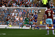 Sam Vokes of Burnley shoots over the bar. Skybet football league championship match, Burnley  v Brentford at Turf Moor in Burnley, Lancs on Saturday 22nd August 2015.<br /> pic by Chris Stading, Andrew Orchard sports photography.