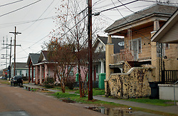 04 February 2015. New Orleans, Louisiana.<br /> The gritty, run down 2200 block of Orleans Street, scene of the shooting of Irish Garda Brian Hanrahan, shot in New Orleans on January 27th, 2015. The shooting scene is approximately 1.5 miles from Bourbon Street and it is unclear why Hanrahan walked this far away from the French Quarter? NOPD advised that Hanrahan was shot for refusing to hand over his wallet. The assailants rifled through his pockets and wallet where they discovered his Irish police ID. It is alleged they asked if Hanrahan was a cop. When he confirmed that he was, his assailants then allegedly told Hanrahan, 'Well, this is how we do things in New Orleans,' and they shot him a second time.<br /> Photo; Charlie Varley/varleypix.com