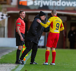 Partick Thistle's manager Ian McColl and Partick Thistle's Kenny Miller. Dunfermline 5 v 1 Partick Thistle, Scottish Championship game played 30/11/2019 at Dunfermline's home ground, East End Park.