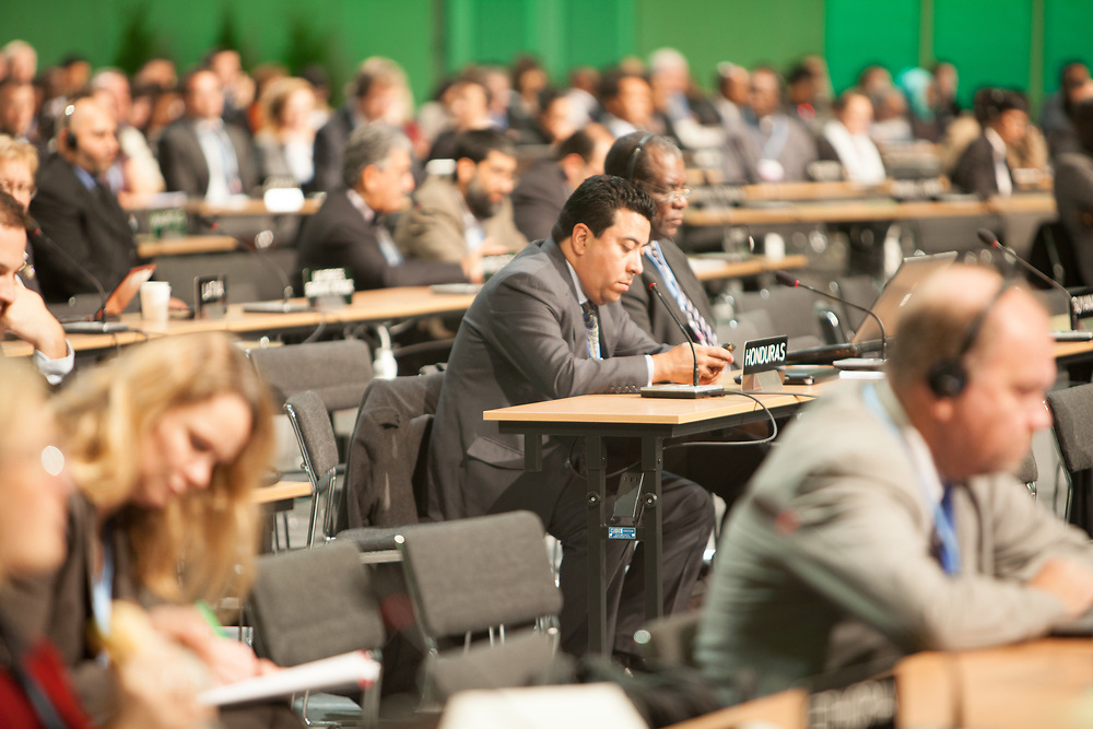 The plenary hall at COP19 climate change conference in Warsaw, Poland