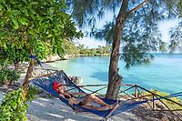 one caucasian woman enjoying vacations Kizimkazi in Unguja aka Zanzibar Island Tanzania East Africa