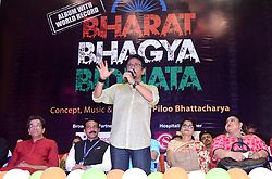 August 10, 2017 - Kolkata, West Bengal, India - Music director of Bharat Bhagya Vidhata Piloo Bhattacharya (in middle) speak about the concept during the release program if Video album in Kolkata.Video album releases of Bharat Bhagya Vidhata which create world record at Sovabazzar Rajbari on August 10, 2017 in Kolkata. In Bharat Bhagya Vidhata 492 artist participated in 22 video shots in a single day which create a World Record. (Credit Image: © Saikat Paul/Pacific Press via ZUMA Wire)