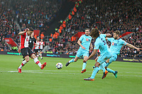 Football - 2017 / 2018 Premier League - Southampton vs. AFC Bournemouth<br /> <br /> Southampton's Dusan Tadic flicks in Saints second with the outside of his left foot at St Mary's Stadium Southampton<br /> <br /> COLORSPORT/SHAUN BOGGUST