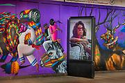 Graffiti wall on construction hoarding in Great Eastern Street in Shoreditch in East London, United Kingdom.