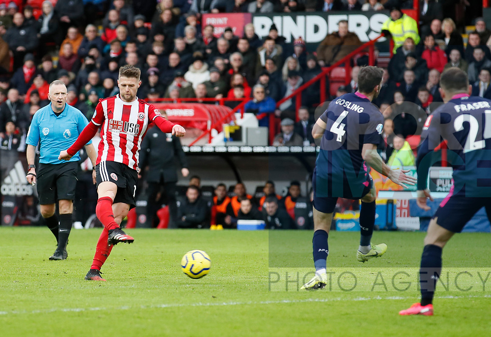 Oliver Norwood of Sheffield Utd shoots during the Premier League match at Bramall Lane, Sheffield. Picture date: 9th February 2020. Picture credit should read: Simon Bellis/Sportimage