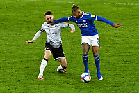Football - 2020 / 2021 Sky Bet Championship - Swansea City vs Cardiff City - Liberty Stadium<br /> <br /> Leandro Bacuna Cardiff City appears to hand off Matt Grimes Swansea Cityin the South Wales local derby match<br /> <br /> COLORSPORT/WINSTON BYNORTH
