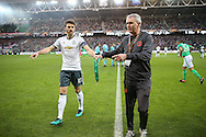 Michael Carrick Midfielder of Manchester United with the pennant during the Europa League match between Saint-Etienne and Manchester United at Stade Geoffroy Guichard, Saint-Etienne, France on 22 February 2017. Photo by Phil Duncan.