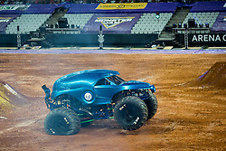 December 16, 2017 - Sao Paulo, Sao Paulo, Brazil - NEA Police lands after a jump during a round of racing. Monster Jam was held at Corinthians Stadium, in Sao Paulo, Brazil. (Credit Image: © Paulo Lopes via ZUMA Wire)