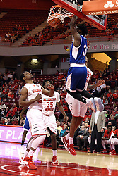 22 December 2015:  Xavier Richards(3) uses a two handed approach to get a shot against Deontae Hawkins(23). Illinois State Redbirds host the Tennessee State Tigers at Redbird Arena in Normal Illinois (Photo by Alan Look)