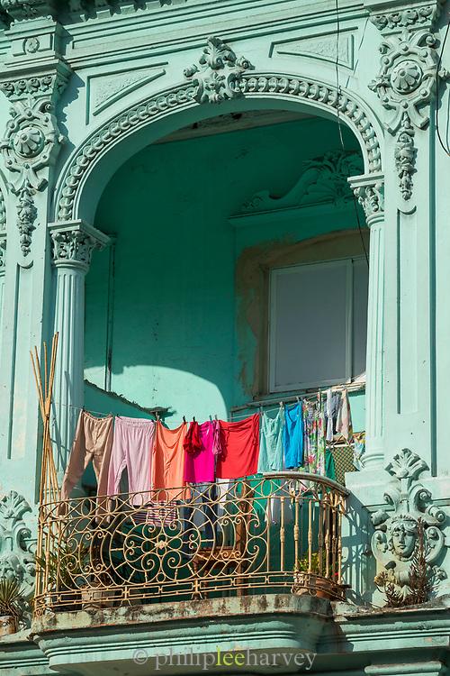 Close up of balcony with laundry, Havana, Cuba