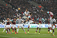 Craig Dawson of West Bromwich Albion heads the ball at goal. Premier league match, West Ham Utd v West Bromwich Albion at the London Stadium, Queen Elizabeth Olympic Park in London on Saturday 11th February 2017.<br /> pic by John Patrick Fletcher, Andrew Orchard sports photography.