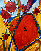 """'Fall Poppies,' Revival No. 18 . Acrylic on Canvas . 45"""" x 36"""""""