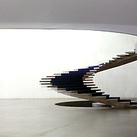 South America, Brazil, Brasilia. Interior staircase at Itamaraty Palace in Brasilia, home of foreign government affairs.