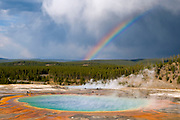 Rainbow over Grand Prismatic Spring, Yellowstone National Park, Wyoming