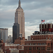 Empire State Building and New York City skyline as seen from the Standard Hotel in MeatPack district.