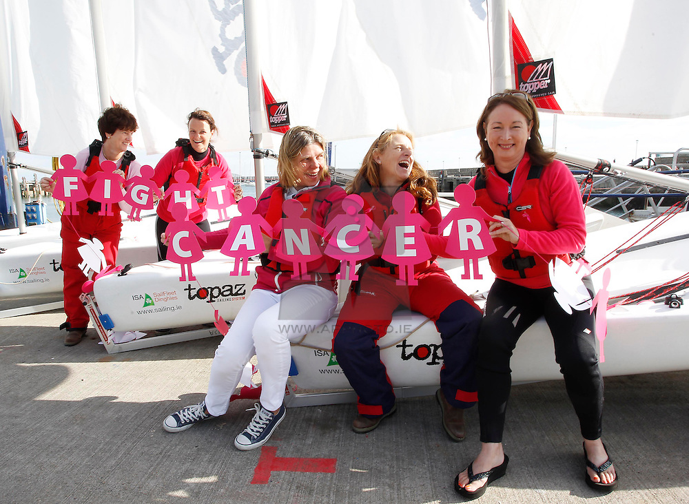 Repro Free: 09/09/2013 Irish Sailing Association's 'Women on the Water Initiative'(WOWI) fundraisers are calling on people not to miss the boat and help fight cancer during this year's Get the Girls fundraising campaign. Pictured (L-R) Jackie Lambert from Cabinteely, Aoife Miller from Glenageary, Cathy McAleavey from Rathfarnham, (former Olympic sailor (1988) and mother of current Olympic sailor Annalise Murphy), Gail MacAllister from Adrigole, West Cork, Regional Development Officer of the Women on the Water Initiative (WOWI), Irish Sailing Association and Helen Cooney from Mount Merrion, Dublin at the launch of the Get the Girls campaign today, which is kindly supported by Centra, the Irish Cancer Society appealed to the public to fundraise for Get the Girls and support the new Irish Cancer Society Collaborative Cancer Research Centre – BREAST PREDICT, a game-changing research project on breast cancer in Ireland recently announced by the Society. For information, ideas or to register for a fundraising pack visit www.getthegirls.ie   or CallSave 1850 60 60 60. Picture Andres Poveda