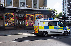 © Licensed to London News Pictures. 30/08/2020. London, UK. A pub boarded up in Notting Hill, West London, on the day of the 2020 Notting Hill Carnival which is bing held virtually this year due to COVID-19 restrictions. Members of the public have been warned against congregating in the Notting Hill Area to celebrate the event. Photo credit: Ben Cawthra/LNP