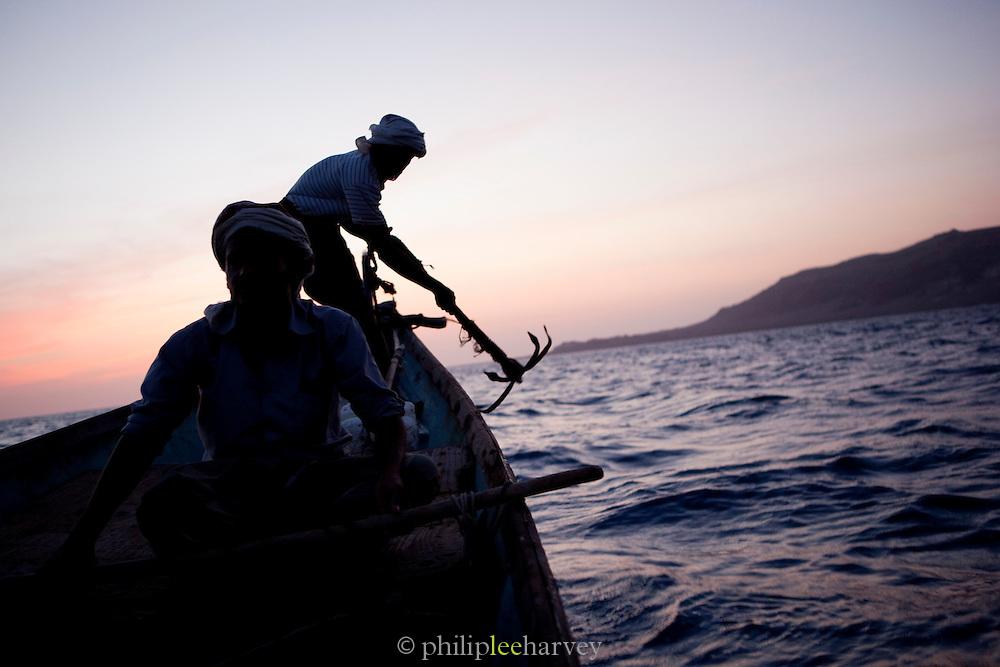 Fishermen at dawn in Arhur, Socotra, Yemen