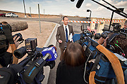 """04 FEBRUARY 2010 - CAMP VERDE, AZ:  Steven Young, representing Yavapai County, talks to the media after the initial appearance of James Arthur Ray Thursday. Ray had his initial appearance in Yavapai County Court in Camp Verde Thursday morning. His bail was set at $5 Million Dollars (US). Ray did not post bail and remains in jail. Ray was arrested in Prescott, AZ, on Feb 3 and charged with three counts of manslaughter after three people died during a sweat lodge ceremony he was holding in Sedona, AZ, in October 2009. The ceremony was a part of a """"Spiritual Warrior"""" workshop Ray was leading. He charged participants $8,000 each. PHOTO BY JACK KURTZ     NO SALES"""
