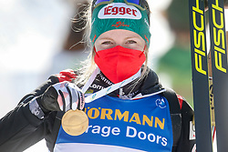 Hauser Lisa Theresa of Austria celebrates with gold medal during the IBU World Championships Biathlon 12,5 km Mass start Women competition on February 21, 2021 in Pokljuka, Slovenia. Photo by Vid Ponikvar / Sportida