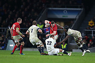 George North of Wales is stopped by Chris Robshaw (7), Ben Te'o (22) and Maro Itoje ® of England. England v Wales, NatWest 6 nations 2018 championship match at Twickenham Stadium in Middlesex, England on Saturday 10th February 2018.<br /> pic by Andrew Orchard, Andrew Orchard sports photography