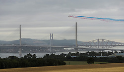 The Red Arrows fly over the Queensferry Crossing during the official opening of the bridge by HM Queen Elizabeth II