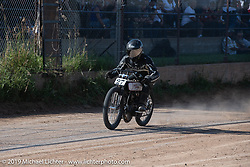 Board track racer no. 27 Josh Young on his Harley-Davidson in the Spirit of Sturgis races at the fairgrounds during the Sturgis Black Hills Motorcycle Rally. Sturgis, SD, USA. Monday, August 5, 2019. Photography ©2019 Michael Lichter.