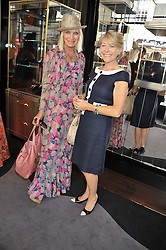 Left to right, VIRGINIA BATES and GILLY MACKWOOD at a girl's lunch to celebrate the opening of Annoushka Ducas's new store Flagship Annoushka at 1 South Molton Street, London W1 on 26th July 2012.  Following drinks guests went for lunch at Claridge's, Brook Street, London.