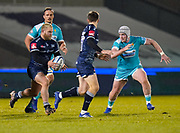 Sale Sharks hooker Akker Van Der Merwe prepares to chip the ball over the Worcester Warriors defence during the Gallagher Premiership match Sale Sharks -V- Worcester Warriors at The AJ Bell Stadium, Greater Manchester,England United Kingdom, Friday, January 08, 2021. (Steve Flynn/Image of Sport)