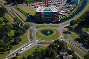 Nederland, Groningen, Veendam, 08-09-2009; Hoofdkantoor van Waterschap Hunze en Aa's, Aquapark. Rotondekunst: rotonde met in het midden kunstwerk, plastiek.Head office Regional Water Authority Hunze en Aa.luchtfoto (toeslag); aerial photo (additional fee required); .foto Siebe Swart / photo Siebe Swart