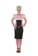 Diane Wilkes, wearing an external corsett around her 20 inch waist