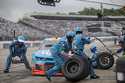 July 22, 2018 - Loudon, New Hampshire, United States of America - Darrell Wallace, Jr (43) makes a pit stop during the Foxwoods Resort Casino 301 at New Hampshire Motor Speedway in Loudon, New Hampshire. (Credit Image: © Stephen A. Arce/ASP via ZUMA Wire)