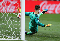July 1, 2018 - Moscou, Rússia - MOSCOU, MO - 01.07.2018: SPAIN VS RUSSIA - David DE GEA of Spain takes a penalty kick from Denis CHERYSHEV of Russia during the match between Spain and Russia, valid for the round of 16 of the 2018 World Cup held at the Luzhniki Stadium in Moscow, Russia. (Credit Image: © Rodolfo Buhrer/Fotoarena via ZUMA Press)
