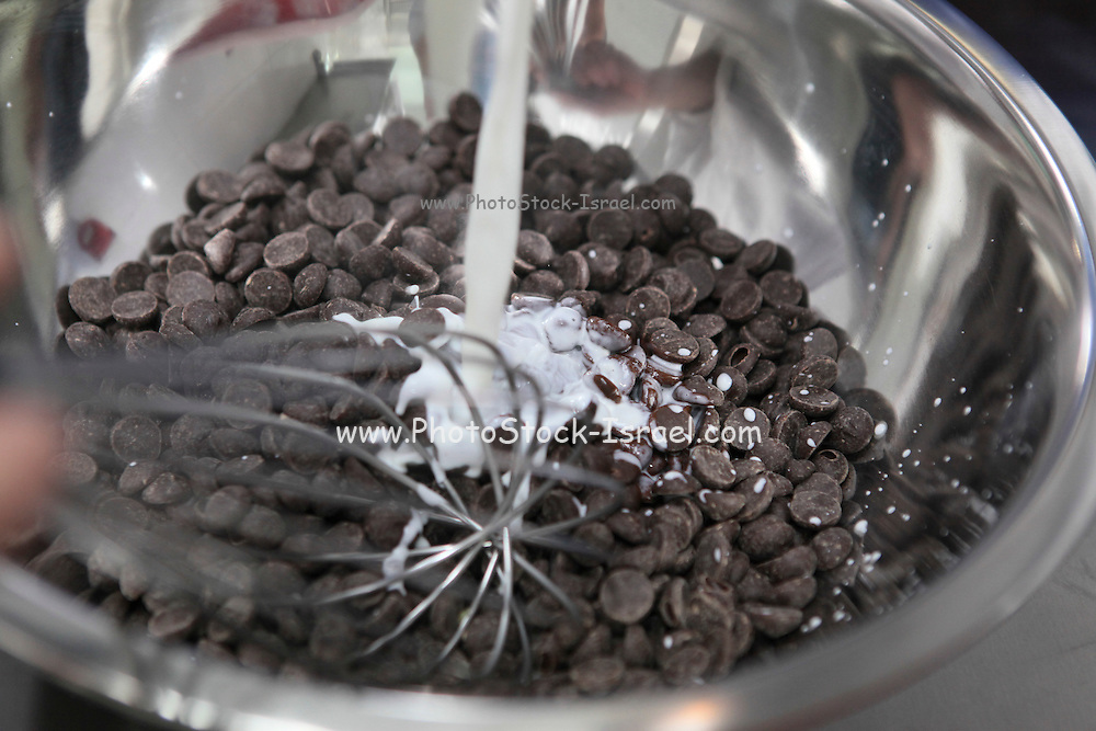 mixing chocolate chips with milk