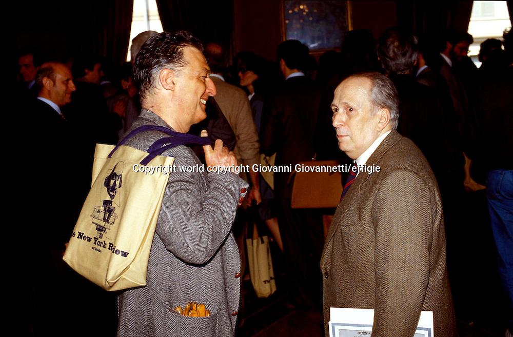Emilio Tadini, Oreste Del Buono<br />world copyright Giovanni Giovannetti/effigie / Writer Pictures<br /> <br /> NO ITALY, NO AGENCY SALES / Writer Pictures<br /> <br /> NO ITALY, NO AGENCY SALES